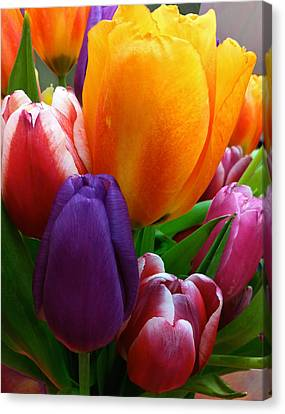Canvas Print featuring the photograph Tulips Smiling by Marie Hicks