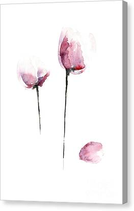 Mothers Day Gift Ideas Canvas Print - Tulips Watercolor Flower Art Print, Purple Home Decor, Pink Tulip Painting by Joanna Szmerdt