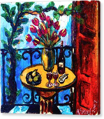 Tulips Wine And Pears Canvas Print by Karon Melillo DeVega