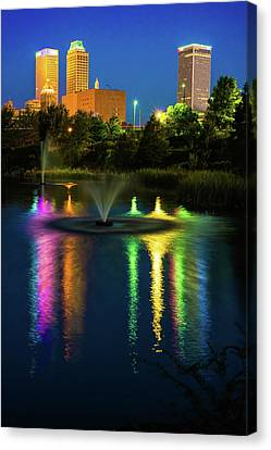 Tulsa Downtown Skyline - Bold Color Canvas Print by Gregory Ballos