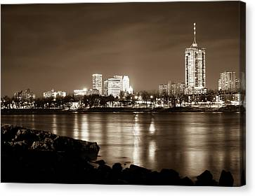 Tulsa Downtown Skyline River View - Sepia Edition Canvas Print