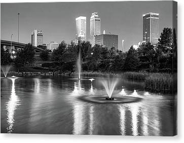 Tulsa Downtown Skyline Water Reflections - Black And White Canvas Print by Gregory Ballos