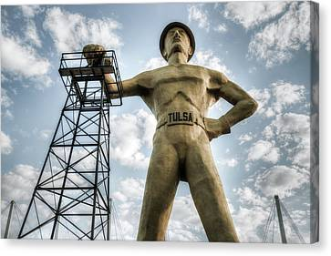 Canvas Print featuring the photograph Tulsa Driller Tulsa Oklahoma - Vintage Colors by Gregory Ballos