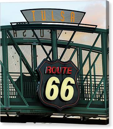 Tulsa Kicks On Route 66 - Neon Sign - Oklahoma - Usa Canvas Print by Gregory Ballos
