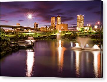 Canvas Print featuring the photograph Tulsa Lights - Centennial Park View by Gregory Ballos