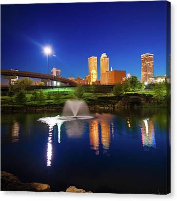 Tulsa Oklahoma City Skyline In Midnight Blue Canvas Print