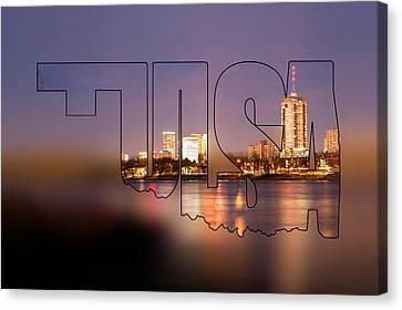 Tulsa Oklahoma Riverside Skyline Typographic Blur - Tulsa Oklahoma From The Shoreline Canvas Print by Gregory Ballos