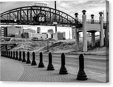 Canvas Print featuring the photograph Tulsa Oklahoma Route 66 - Cyrus Avery Plaza - Black And White by Gregory Ballos