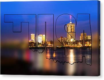 Tulsa Oklahoma Skyline Blur Typographic Letters - Riverside View Of Tulsa Oklahoma Skyline Canvas Print by Gregory Ballos