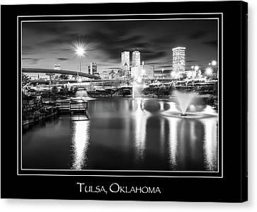 Tulsa Oklahoma Skyline City Name Print - Black And White Canvas Print