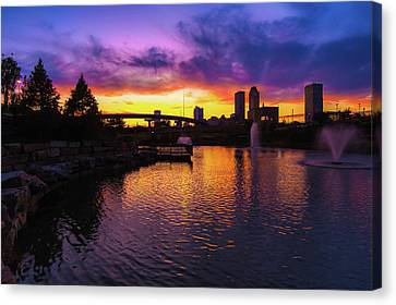 Tulsa Oklahoma Skyline On Fire Canvas Print by Gregory Ballos