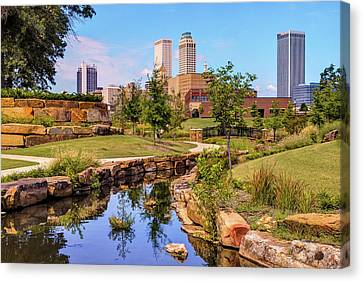 Tulsa Oklahoma Skyline From Centennial Park River Canvas Print by Gregory Ballos