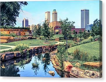 Tulsa Oklahoma Skyline View From Central Centennial Park 3 Canvas Print by Gregory Ballos