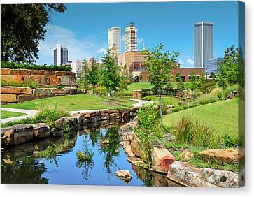 Tulsa Oklahoma Skyline View From Central Centennial Park Canvas Print