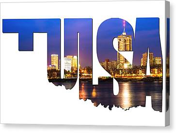Tulsa Oklahoma Typographic Letters - Riverside View Of Tulsa Oklahoma Skyline Canvas Print by Gregory Ballos