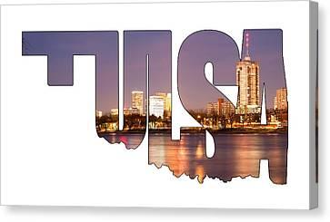Tulsa Oklahoma Typographic Letters - Tulsa Oklahoma From The Shoreline Canvas Print by Gregory Ballos