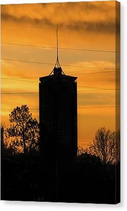 Oklahoma University Canvas Print - Tulsa Oklahoma University Tower Silhouette - Orange Sky by Gregory Ballos