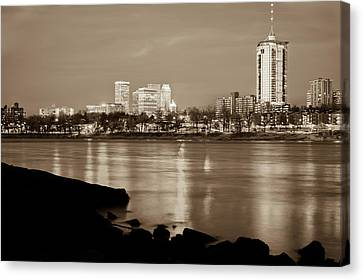 Tulsa Oklahoma - University Tower View - Sepia Edition Canvas Print