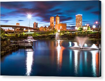 Tulsa On The Water Canvas Print by Gregory Ballos