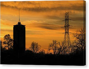 Tulsa Silhouettes And Golden Skies - University Tower Morning  Canvas Print by Gregory Ballos