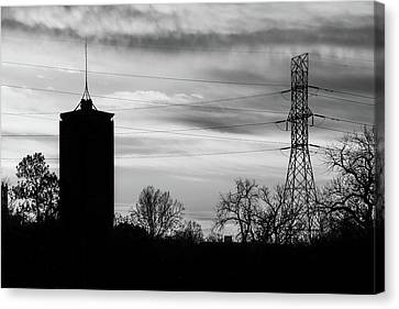 Tulsa Silhouettes In Black And White Canvas Print by Gregory Ballos