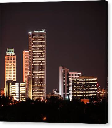 Tulsa Skyline Above The Trees 1x1 Canvas Print by Gregory Ballos