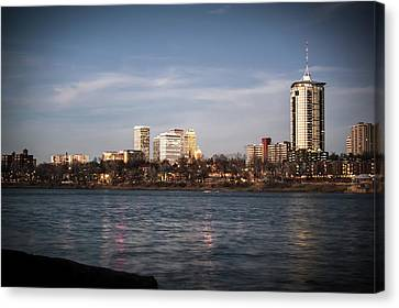 Canvas Print featuring the photograph Tulsa Skyline And Arkansas River - Vignette by Gregory Ballos