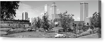 Tulsa Skyline City Panorama - Black And White Canvas Print by Gregory Ballos