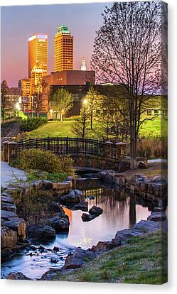 Tulsa Skyline On The River Canvas Print by Gregory Ballos