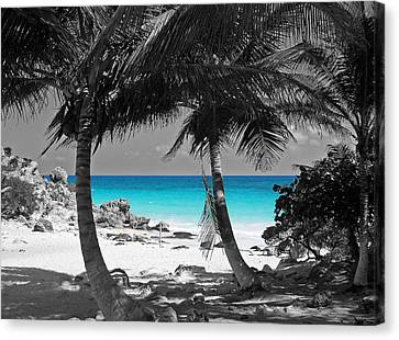Tulum Mexico Beach Color Splash Black And White Canvas Print by Shawn O'Brien
