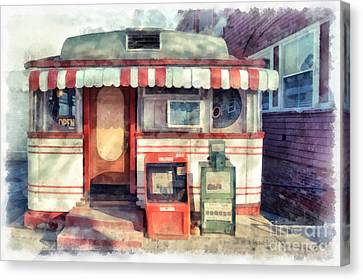 Tumble Inn Diner Watercolor Canvas Print by Edward Fielding