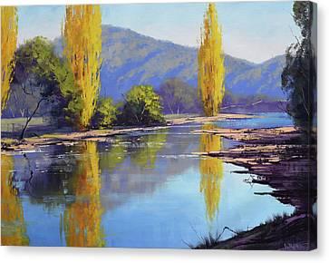 Autumn Scenes Canvas Print - Tumut River Poplars by Graham Gercken