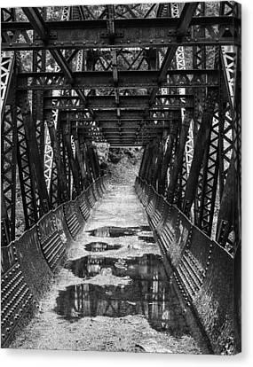 Tumwater Canyon Pipeline Bridge Black And White Canvas Print