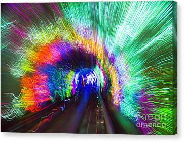 Canvas Print featuring the photograph Tunnel Lights by Angela DeFrias