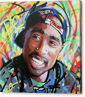 Canvas Print featuring the painting Tupac Portrait by Richard Day