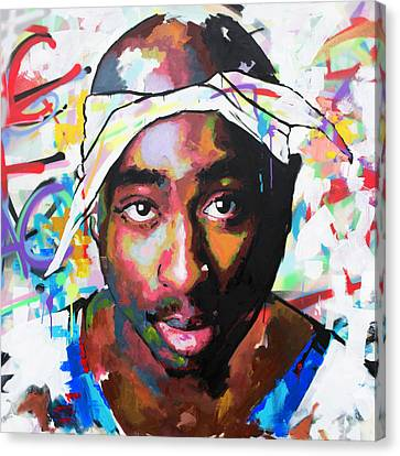Canvas Print featuring the painting Tupac Shakur II by Richard Day