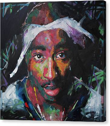 Canvas Print featuring the painting Tupac Shakur by Richard Day