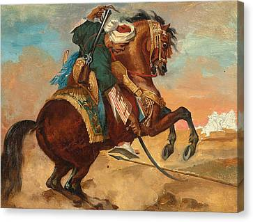 Turk Mounted On Chestnut Colored Horse Canvas Print by Theodore Gericault