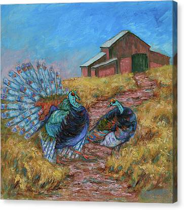 Canvas Print featuring the painting Turkey Tom's Tango by Xueling Zou