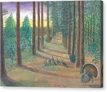 Turkeys On Bobs Trail Canvas Print by Lori  Theim-Busch
