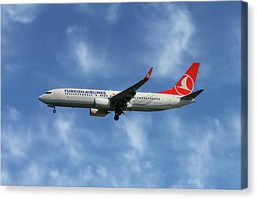 Airlines Canvas Print - Turkish Airlines Boeing 737-8f2 by Nichola Denny