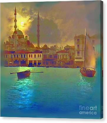 Mix Media Canvas Print - Turkish  Moonlight by S Seema  Z