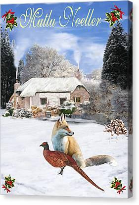 Turkish  Winter Garden Fox And Pheasant Canvas Print