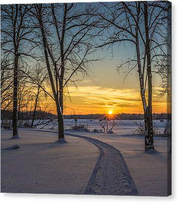 Turn Left At The Sunset Canvas Print by Randy Scherkenbach
