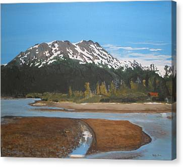 Canvas Print featuring the painting Turnagain Arm Alaska by Betty-Anne McDonald