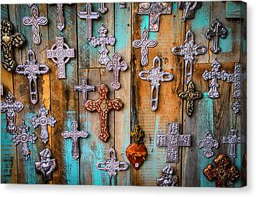 Turquoise And Crosses Canvas Print by Juli Ellen