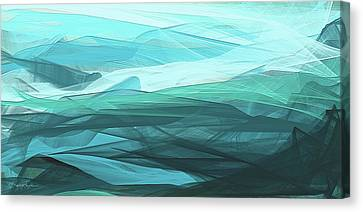 Turquoise And Gray Modern Abstract Canvas Print by Lourry Legarde