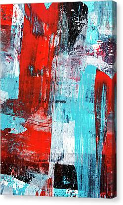 Canvas Print featuring the painting Turquoise And Red Abstract Painting by Christina Rollo