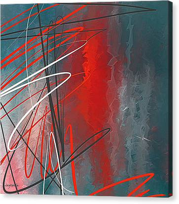 Turquoise And Red Modern Abstract Canvas Print