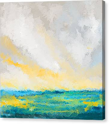 Turquoise And Yellow Art Canvas Print